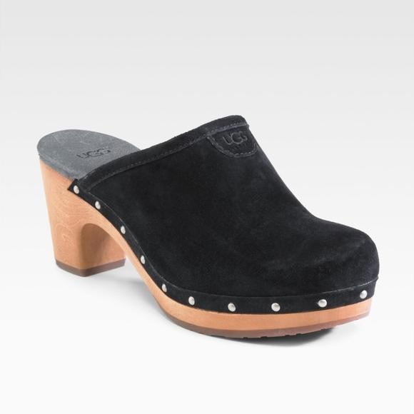 UGG Shoes   Abbie Black Suede Clogs